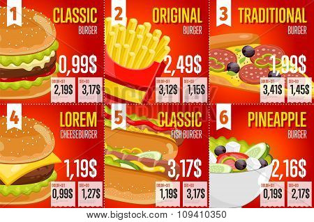 Fast food restaurant menu template vector illustration elements. Set of abstract advertising price tags about fast food meal. Six banners of fast food. Burger, fries, hot dog and pizza. Food menu design. Fast food cafe flyer. Fast food menu card.