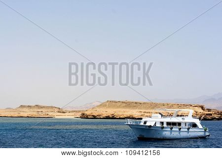boat off the coast in Sharm El Sheikh