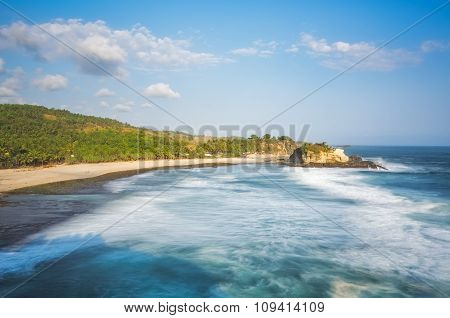 Scenery of tropical beach in Jogjakarta, Indonesia