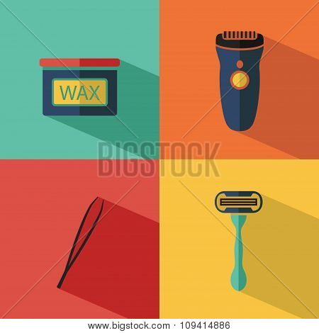 Vector icons set of depilation