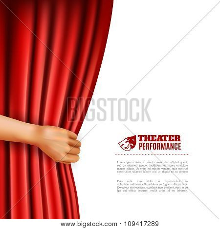 Hand Opening Theatre Curtain Illustration