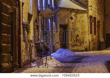 Wintry Night Street View, Brasov, Romania