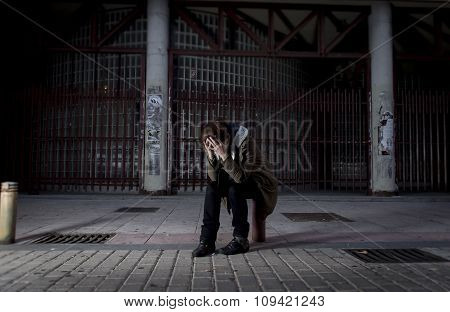 Woman Alone On Street Suffering Depression Looking Sad Desperate And Helpless