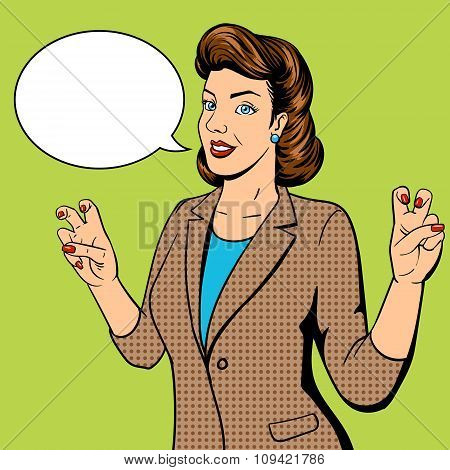 Woman shows quote gesture pop art vector