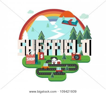 Sheffield in England is Beautiful city to visit on holiday, vector cartoon illustration