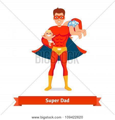 Superhero dad. Father taking care of two sons