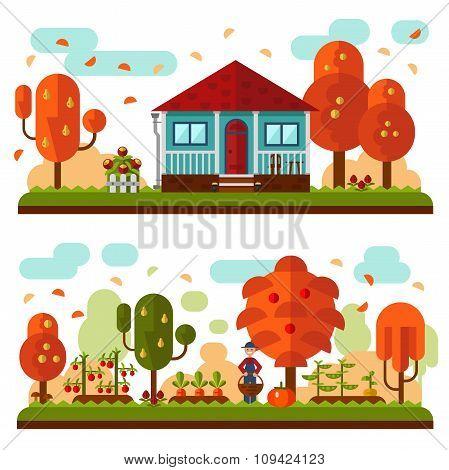Autumn landscapes with garden