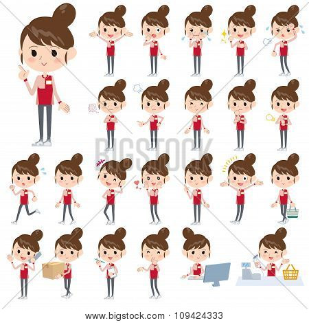 Convenience Store Red Uniforms Women