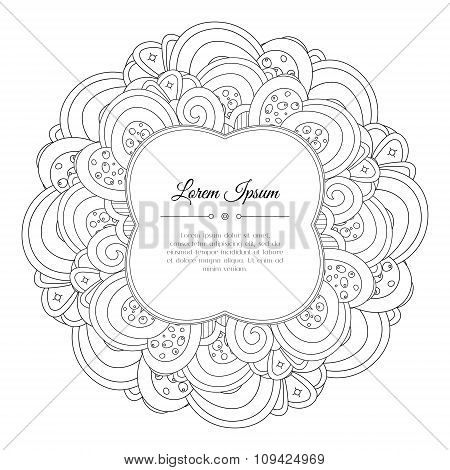 Black And White Hand Drawn Floral Doodle Frame