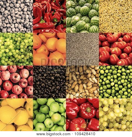 Mix Collage Of 16 In 1 Food Background: Tomatoes, Blueberry, Apples, Pasta, Peas, Chili Pepper, Popp