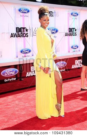 LOS ANGELES - JUN 29:  Claudia Jordan at the 2014 BET Awards - Arrivals at the Nokia Theater at LA Live on June 29, 2014 in Los Angeles, CA
