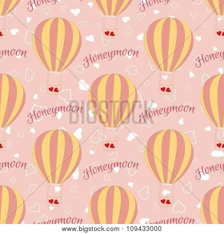 Vector wedding balloon with red hearts seamless pattern.