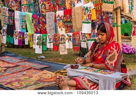 Artist Painting Beautiful Handicrafts