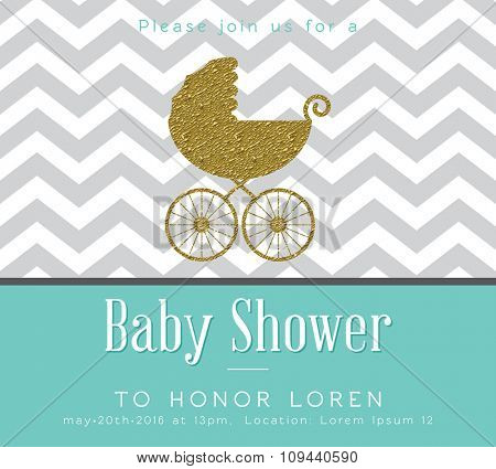 Baby shower invitation with gold detail