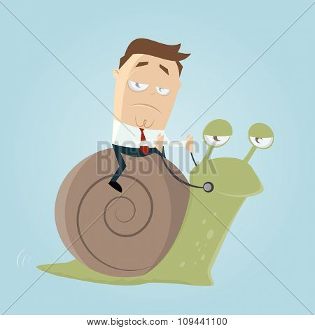 businessman riding a slow snail