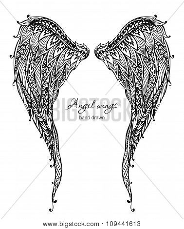 Vetor Hand Drawn Ornate Angel Wings, Zentangle Style