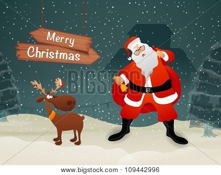 Cute Santa Claus holding gift sack, ringing Jingle Bells and Reindeer on creative winter night background for Merry Christmas celebration.