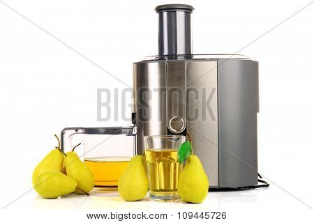 Stainless juice extractor with pears isolated on white background