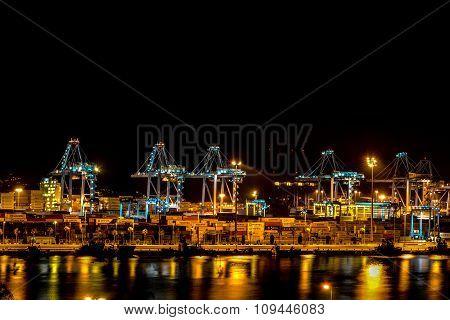 Algeciras, Spain - August 16, 2013: Sea port in Algeciras night on August 16, 2013 in Algeciras, Spa