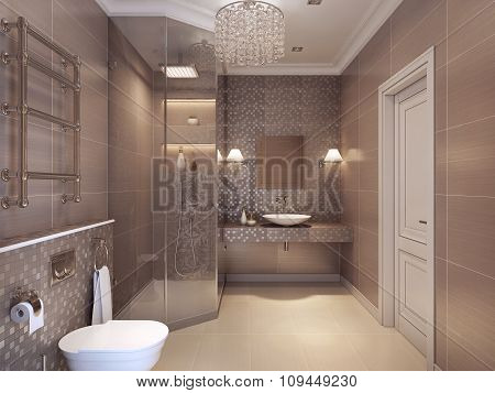 Modern Bathroom In The Art Deco Style.