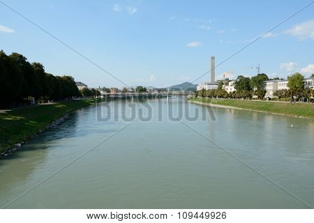 Salzach River And Some Buildings In Salzburg, Austria