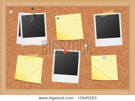 Vector illustration of a cork bulletin board with notes and photos.