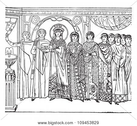 Pageant of the empress Theodora, executed in mosaic in the sixth century, in the church St. Vitale in Ravenna, vintage engraved illustration. Industrial encyclopedia E.-O. Lami - 1875.