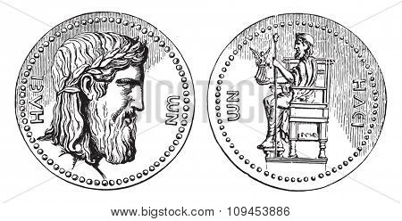 Greek coin with the head of Jupiter of Phidias, vintage engraved illustration. Industrial encyclopedia E.-O. Lami - 1875.