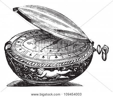 Watch round of the late seventeenth century, the movement is a sign Senebier, vintage engraved illustration. Industrial encyclopedia E.-O. Lami - 1875.