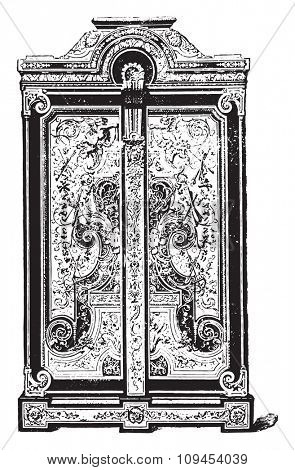 Armorial ebony marquetry, executed by Boule, vintage engraved illustration. Industrial encyclopedia E.-O. Lami - 1875.