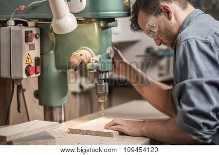Joiner Drilling Wooden Board