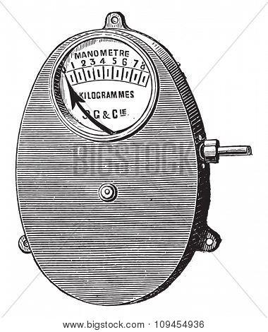 Metal gauge, Bourdon for fixed boilers, vintage engraved illustration. Industrial encyclopedia E.-O. Lami - 1875.