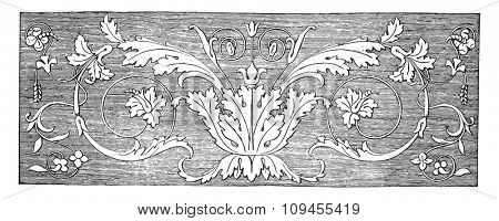 Inlaid wood, Italian labor, vintage engraved illustration. Industrial encyclopedia E.-O. Lami - 1875.