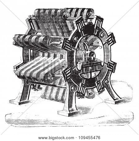 Great magneto-electric machine for headlights, Mr de Meritens, vintage engraved illustration. Industrial encyclopedia E.-O. Lami - 1875.