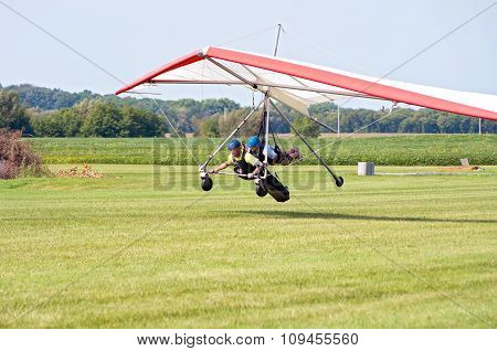 Hang Gliders Land In Whitewater