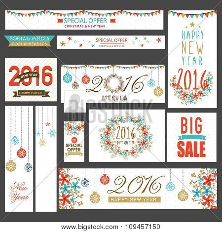 Sale social media ads, post, headers or banners for Happy New Year 2016 and Merry Christmas celebration.