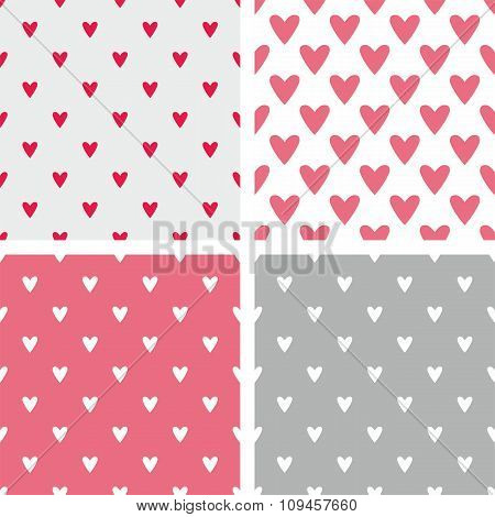 Tile vector pattern set with hearts on pastel background