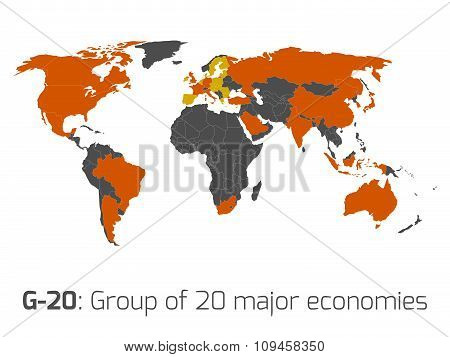G-20 member states world map