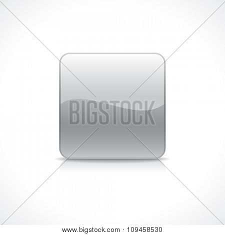 Shiny square silver button on reflection plate