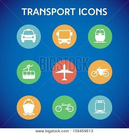 Transportation Big Colorful Icon Set