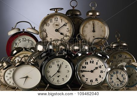 collection of vintage alarm clocks