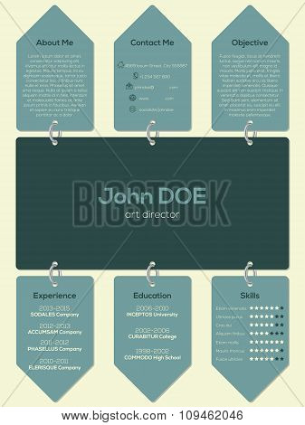 Modern Resume Cv Template With Chain And Tags