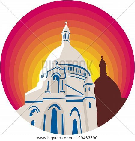 WPA style illustration of a Catholic church dome cathedral set inside circle done in retro style. poster