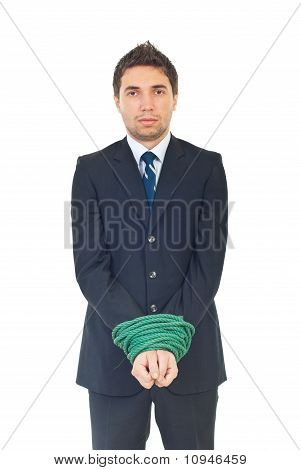 Sad Executive With Hands Well Linked