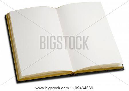 an opened book with blank pages on white