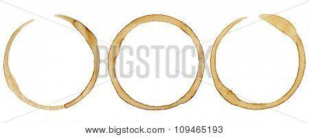 three coffee rings on white