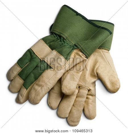 a pair of gardener's protection gloves on white - with clipping path