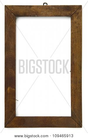 an old wooden frame on white with clipping path
