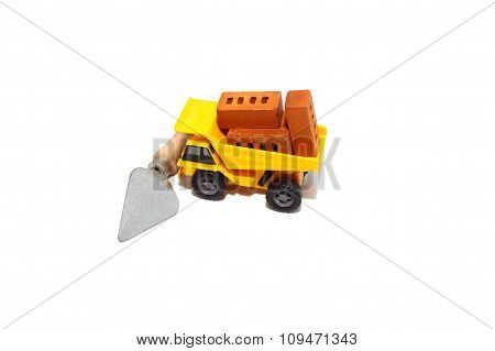 truck with bricks at a construction site