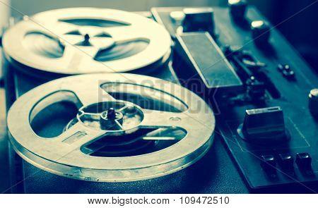 Old portable reel tube tape-recorder
